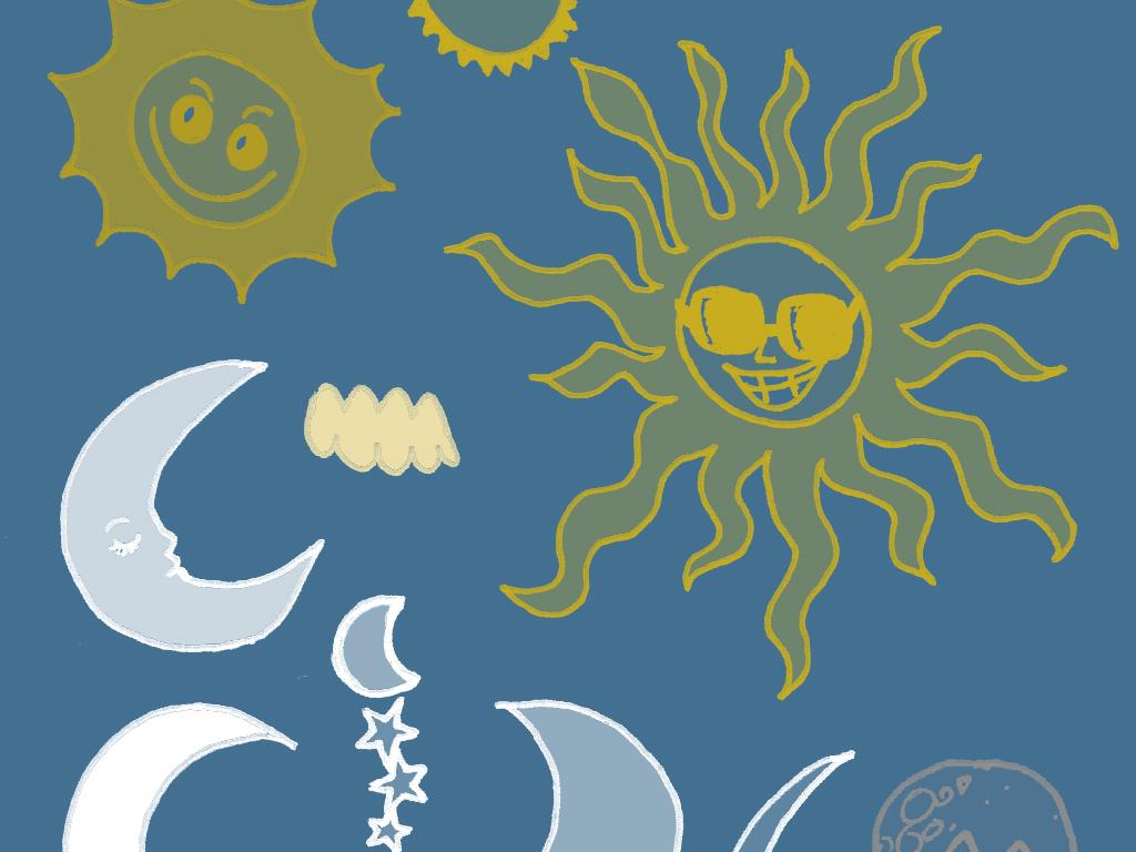 卡通天空星星月亮手绘修饰笔刷源文件+分层