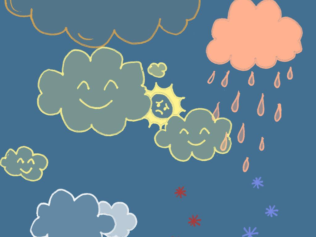 卡通天空星星月亮手绘修饰笔刷源文件 分层
