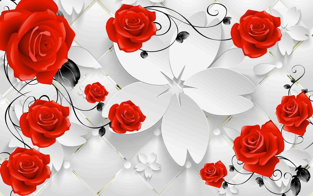 玫瑰                                  鲜花花朵红色手绘背景玫瑰