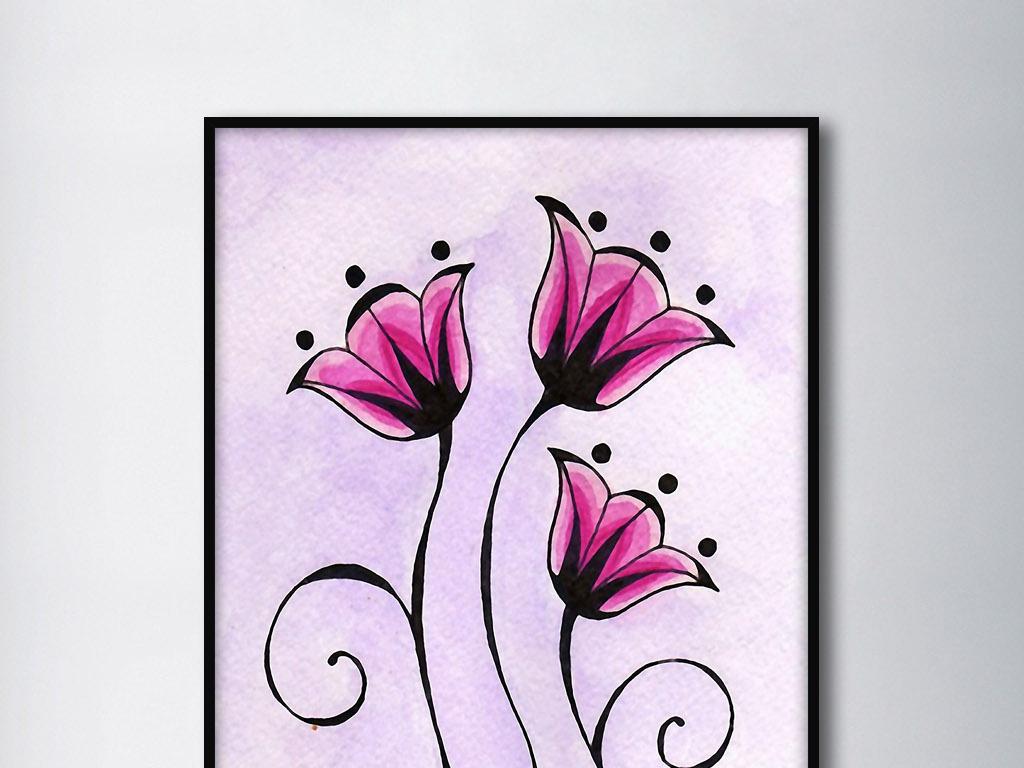 三朵粉红色的花欧式手绘花纹现代装饰无框画