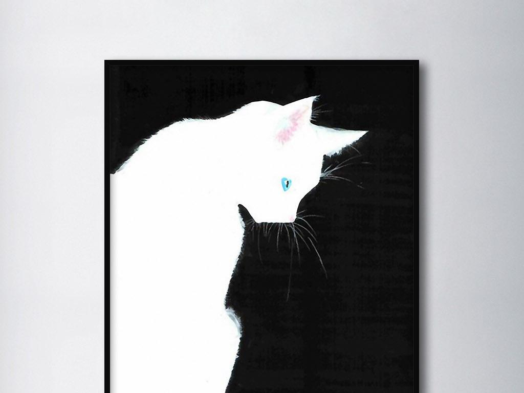 白猫可爱手绘北欧现代黑底黑白时尚装饰画