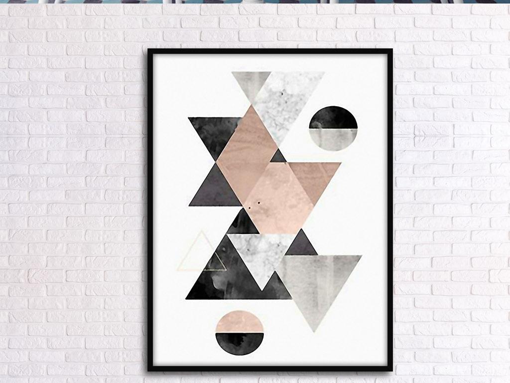 设计作品简介: 三角形圆形抽象图形组合欧式创意现代装饰画 位图, rgb图片