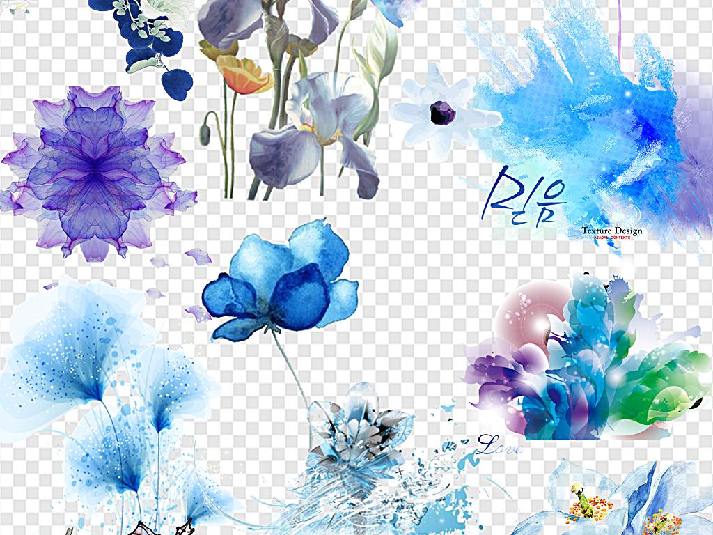 中国风花卉水墨花水彩花手绘花梦幻花朵