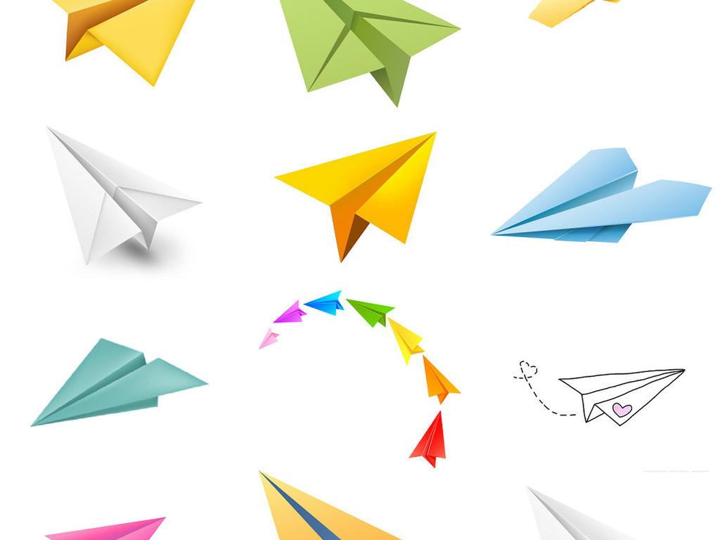 流行童年纸飞机儿童纸飞机免抠设计元素2素材下载