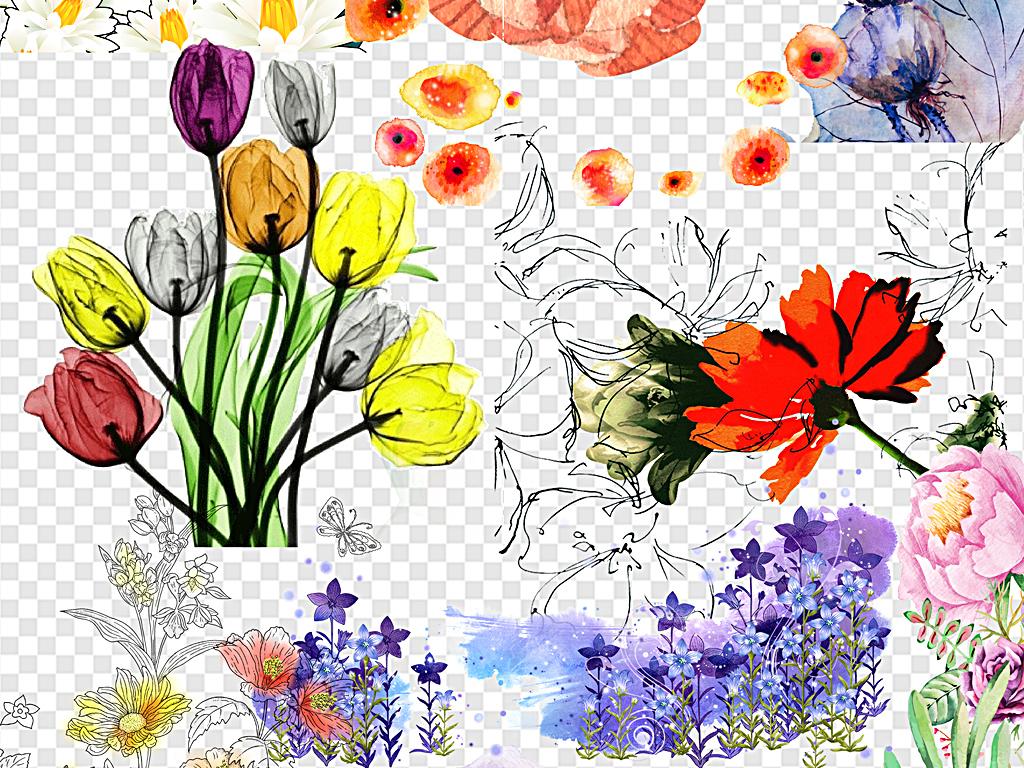 手绘水彩花复古花水墨素材中国风花卉素材