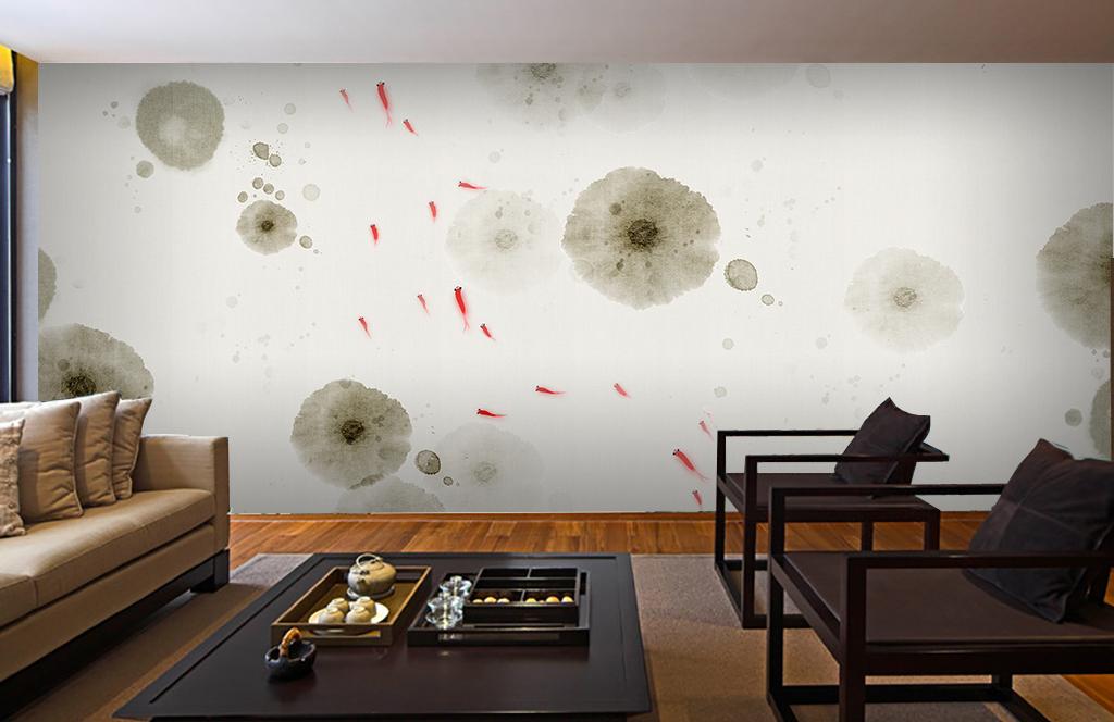 背景墙|装饰画 电视背景墙 手绘电视背景墙 > 手绘中式禅意荷花背景墙