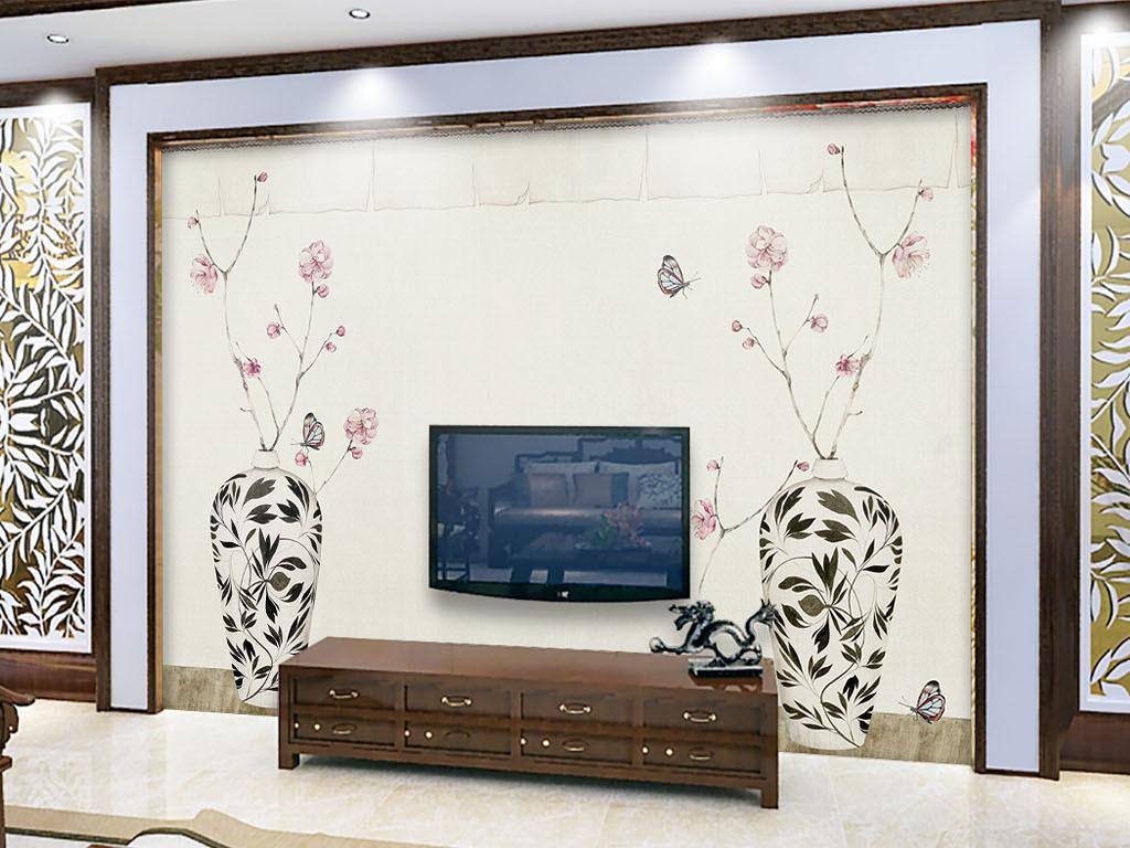 中式淡雅梅花花瓶写意壁画背景墙