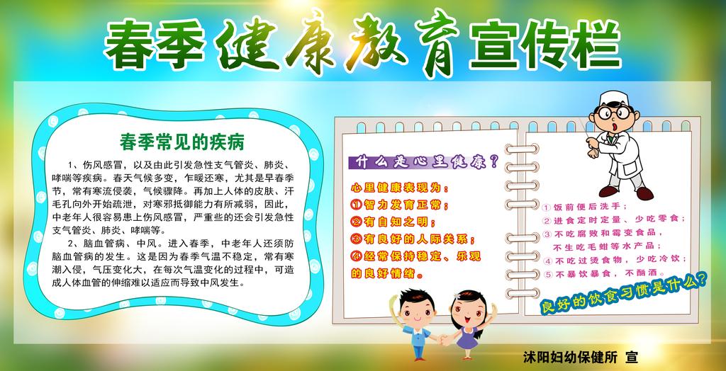 小学生春季健康教育宣传栏海报展板psd
