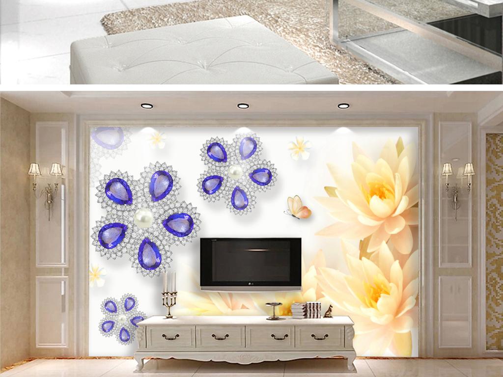 花卉珠宝电视背景墙