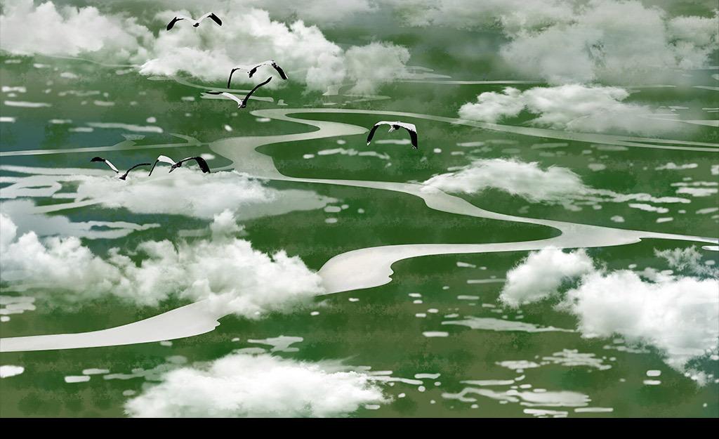 手绘俯视美丽草原天空白云背景墙卧室壁画