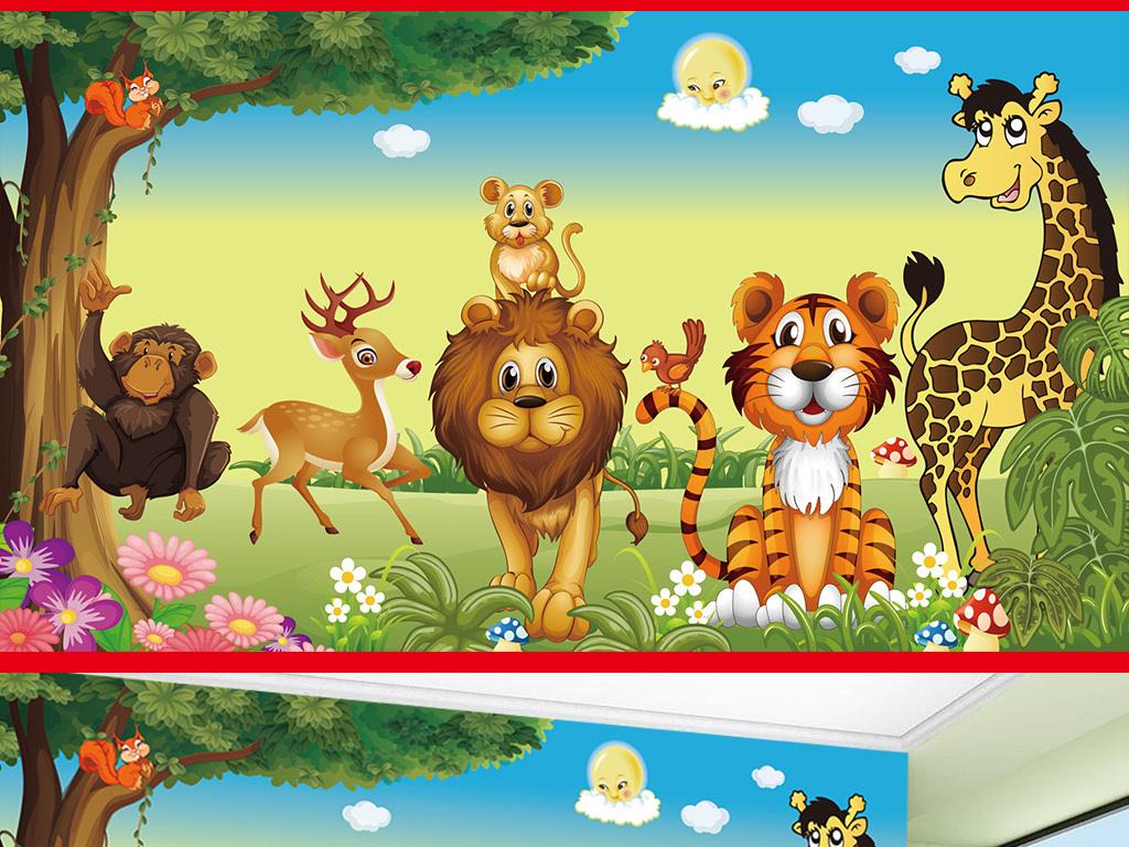 矢量可爱卡通丛林动物儿童房壁画