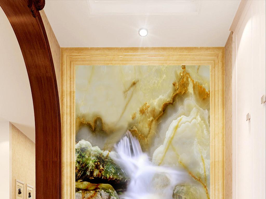 设计作品简介: 高清大理石纹流水生财玄关背景墙