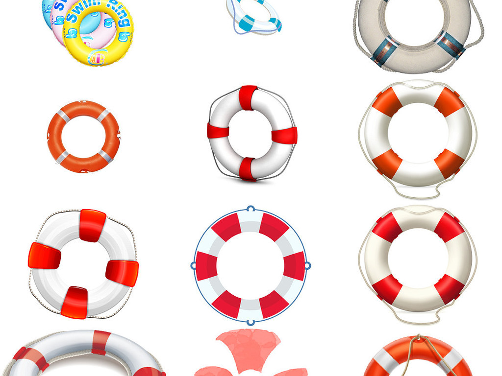 卡通救生圈游泳圈免抠png透明素材2