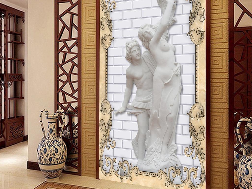屏风隔断石膏像欧式石膏过道背景墙图片福字玄关过道背景墙走廊过道