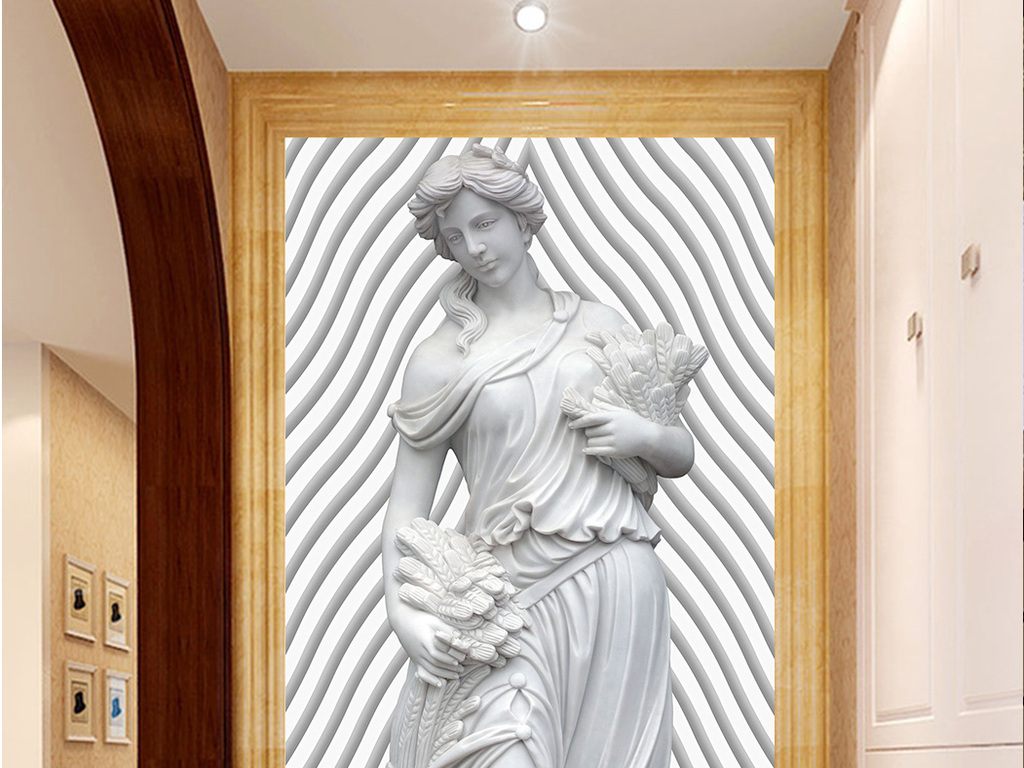 欧式神话人物浮雕门厅玄关过道背景墙壁画