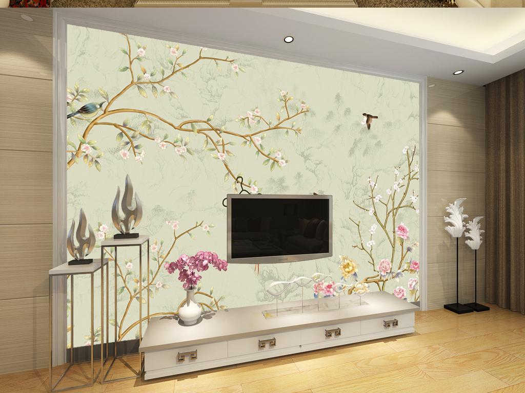 高清手绘花鸟背景墙