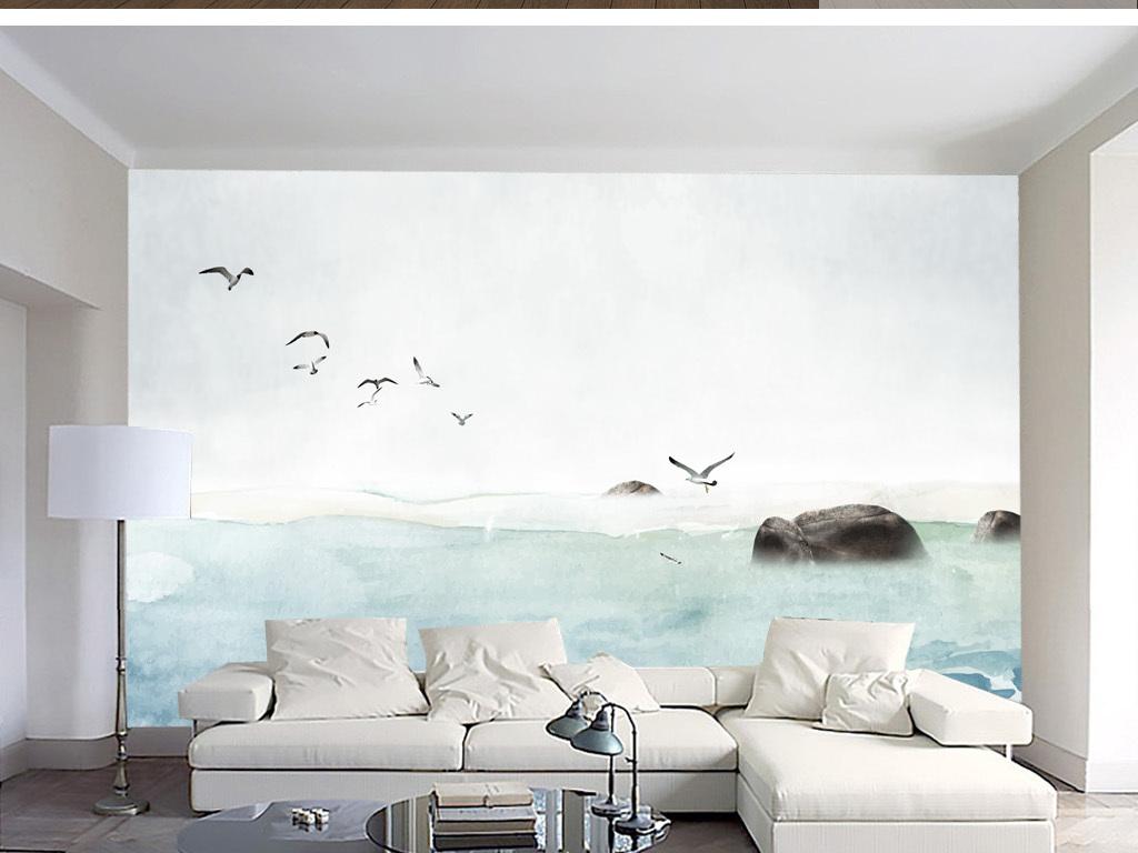 背景墙|装饰画 电视背景墙 美式背景墙 > 手绘北欧海简约风背景墙装饰