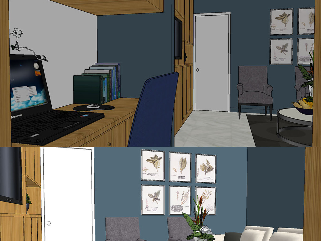 欧式原色小公寓室内su模型
