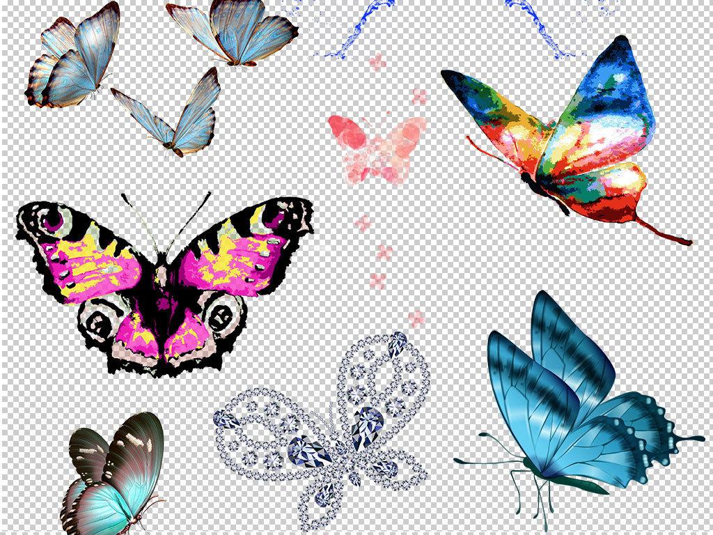 卡通手绘蝴蝶造型设计元素图片