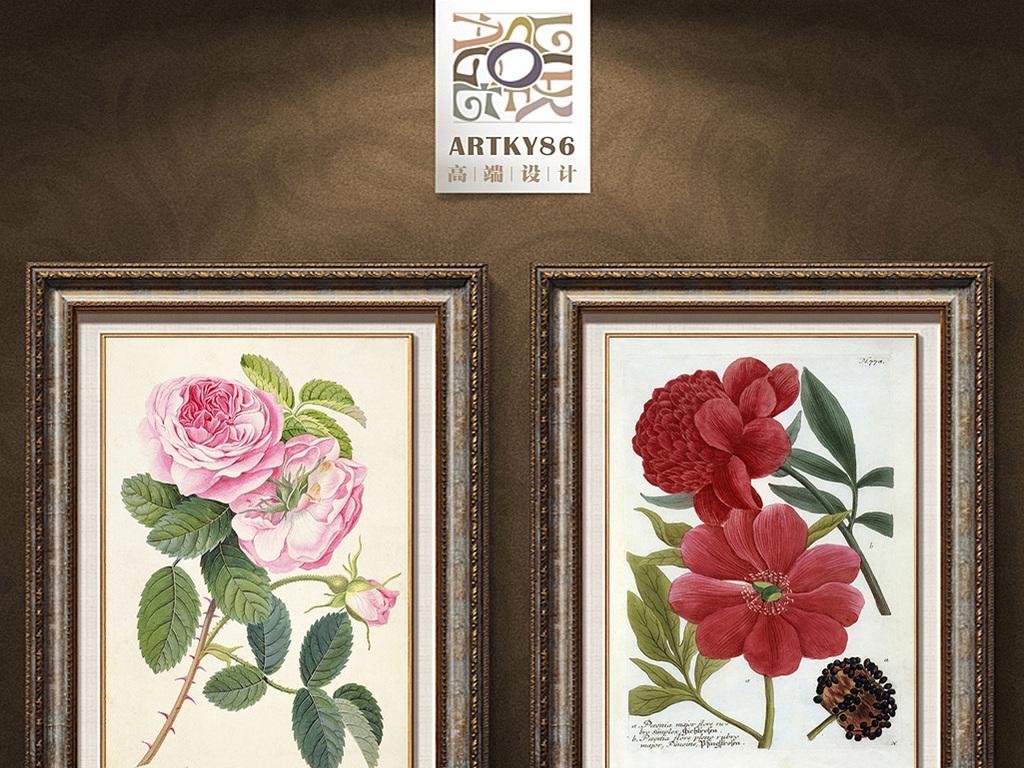 红色玫瑰花装饰画图片