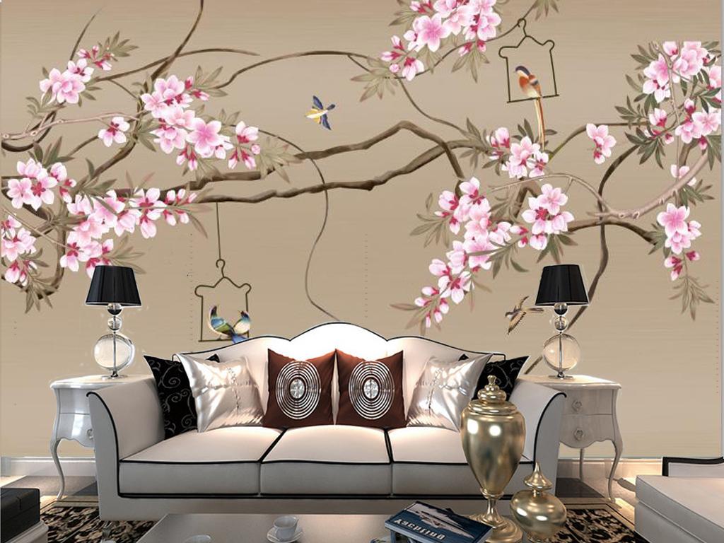 新中式中式风格手绘工笔画树枝树干花藤树藤