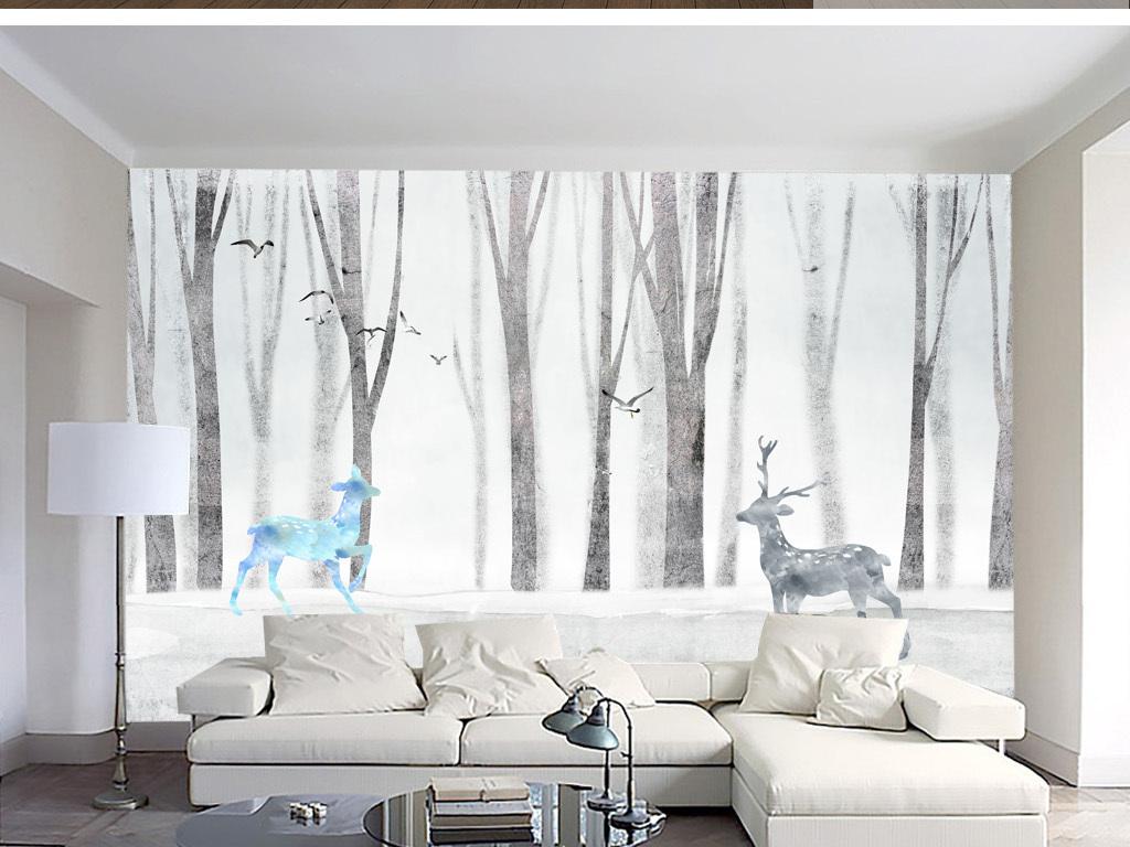 手绘北欧黑白驯鹿简约风背景墙装饰画