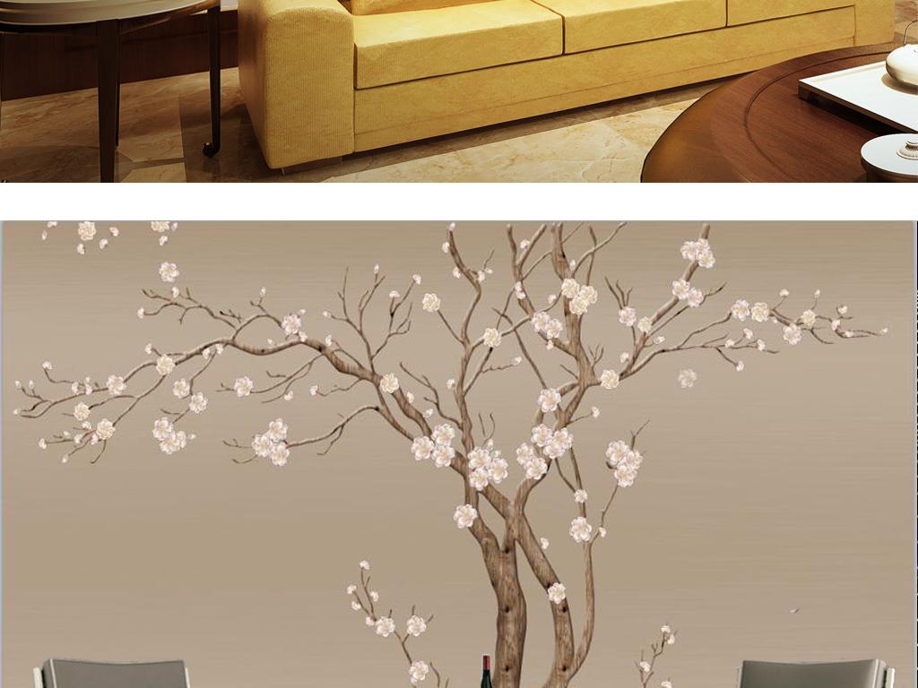 新中式白梅花树手绘电视背景墙