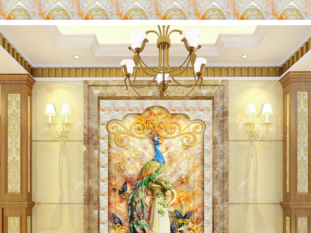 富贵孔雀欧式浮雕玄关图片