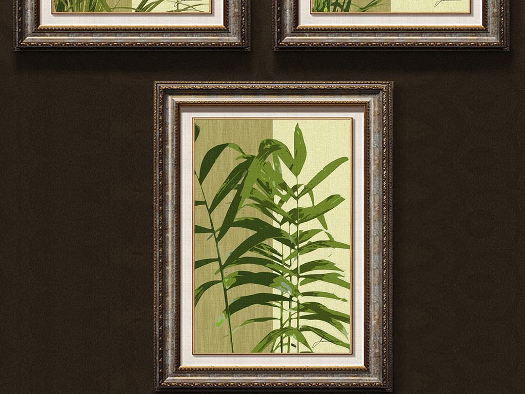 热带植物树叶装饰画