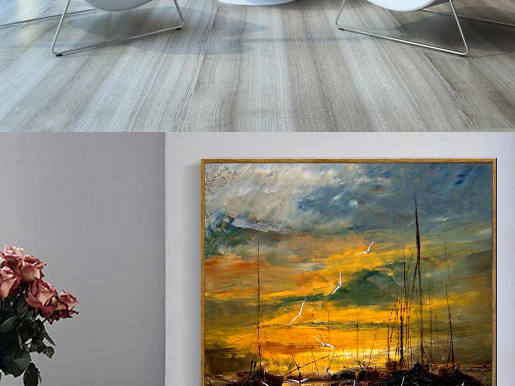 抽象手绘油画海鸥帆船唯美海景装饰画
