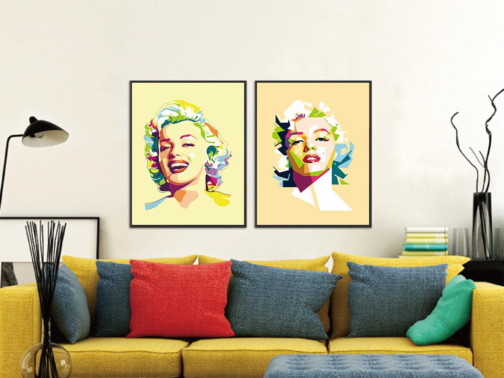 时尚巴台人物抽象墙画图片