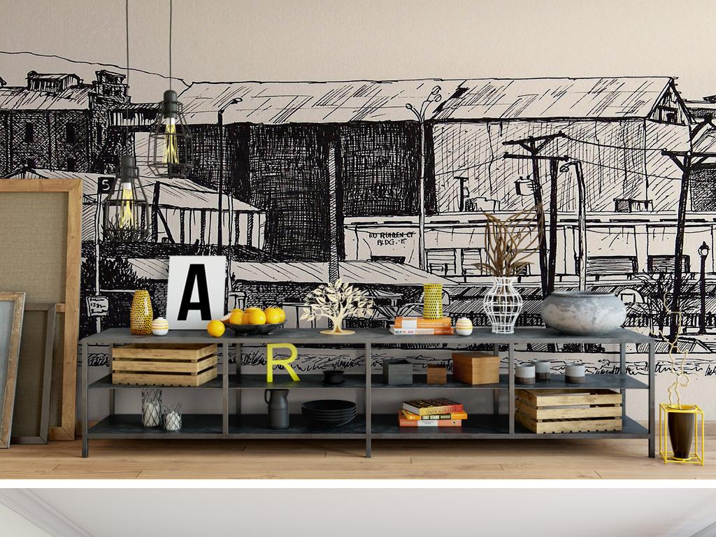 卡通手绘欧式复古黑白建筑手绘抽象背景墙