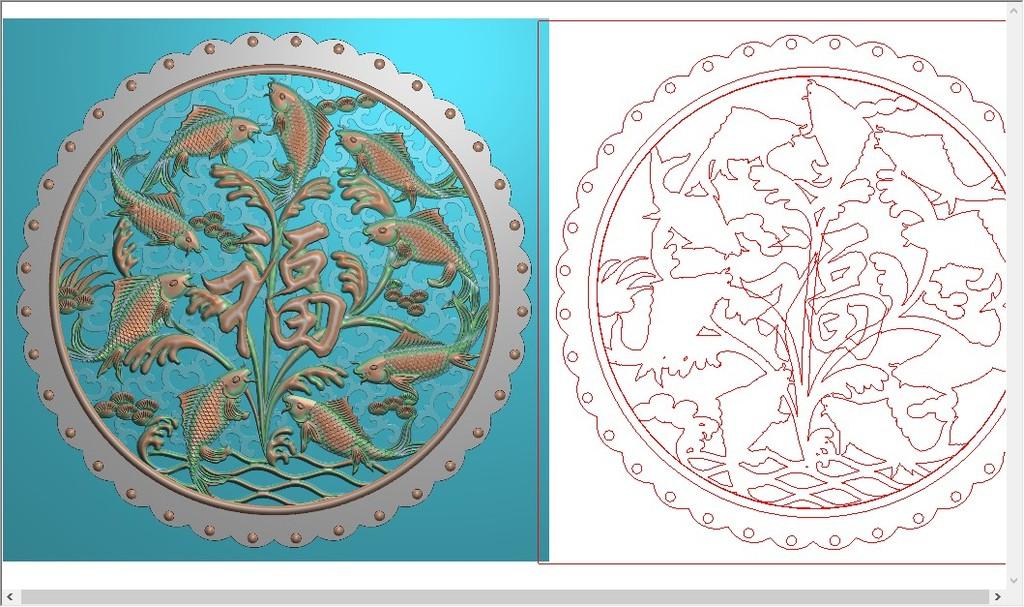 精雕图镂空浮雕图隔断屏风图荷花鲤鱼戏福挂件