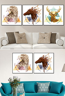 现代简约唯美个性创意动物鹿马鹰装饰无框画