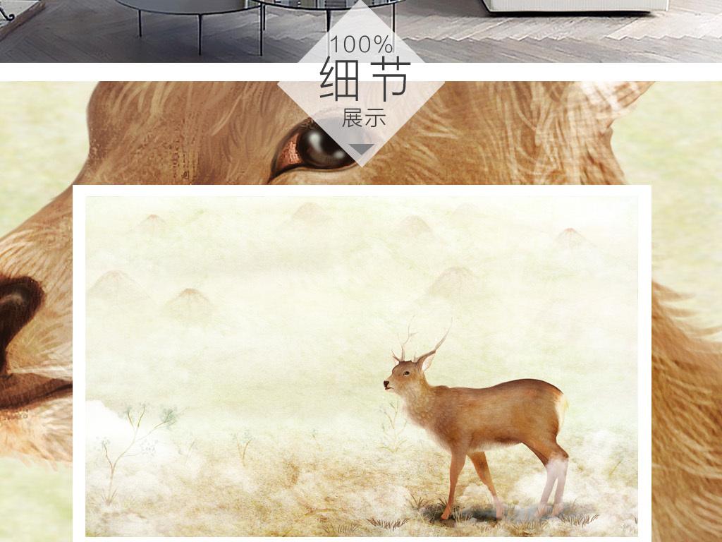手绘北欧麋鹿简约风背景墙装饰画