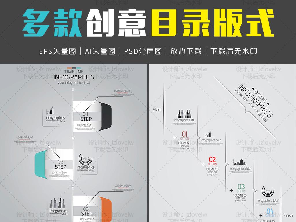 设计元素 科技素材 信息图表 > 多款创意目录版式  版权图片 分享图片