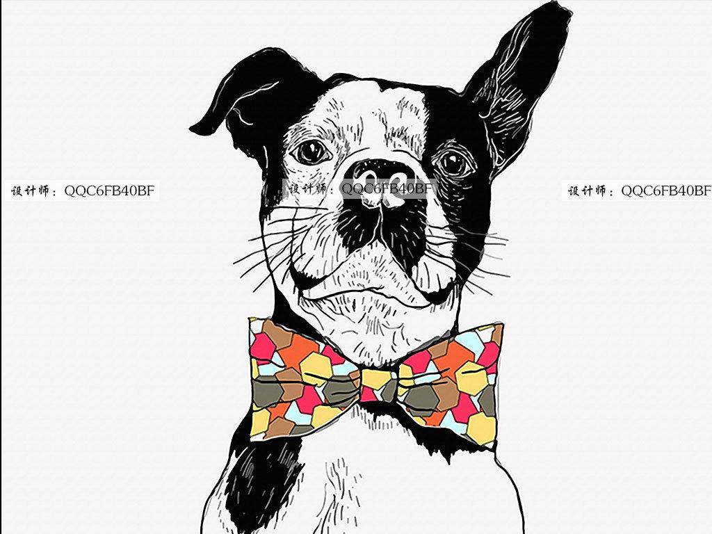 中式背景简约背景                                  手绘图狗