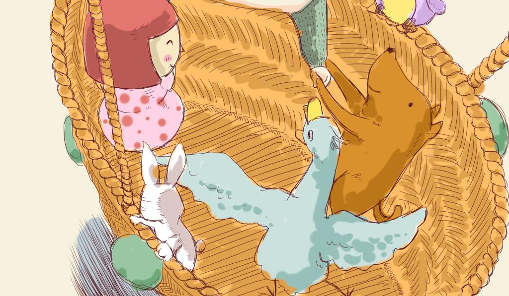 流行手绘创意小动物玩耍热气球插图海报模板素材下载