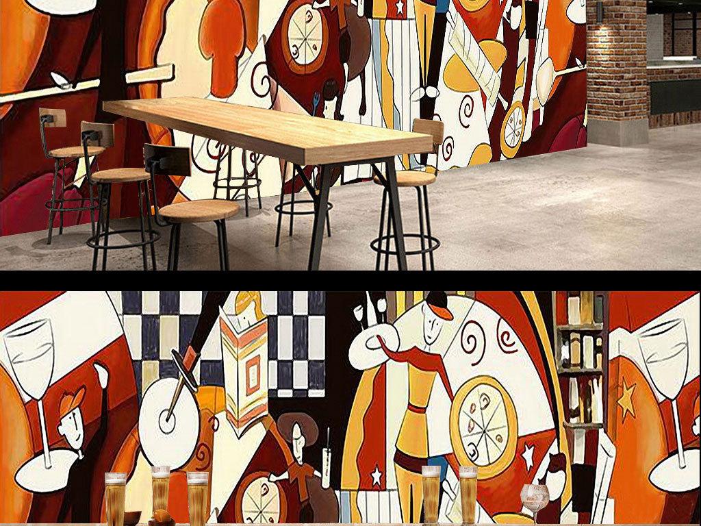 抽象人物手绘背景墙