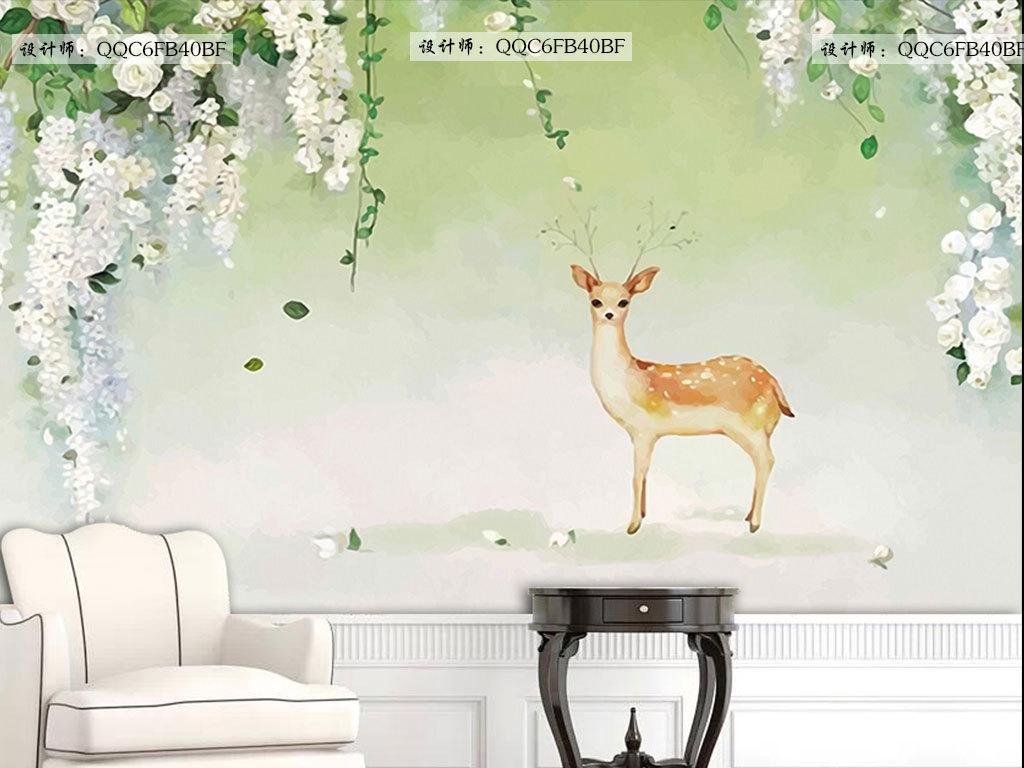 清新手绘麋鹿背景墙