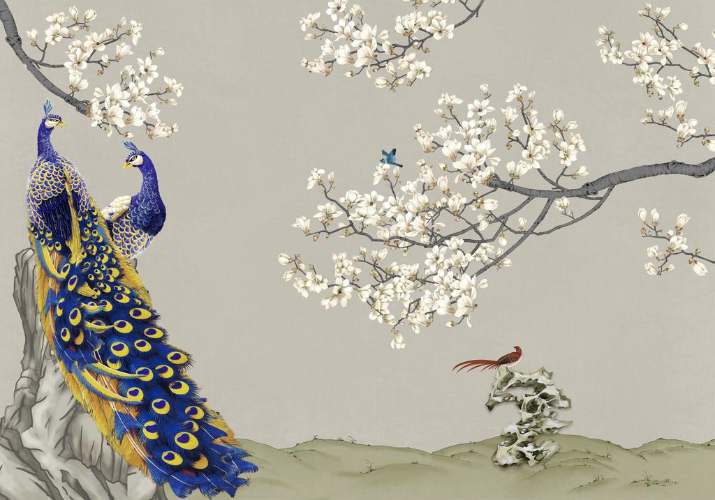 装饰画中式风格中国风白玉兰孔雀玻璃电视背景墙