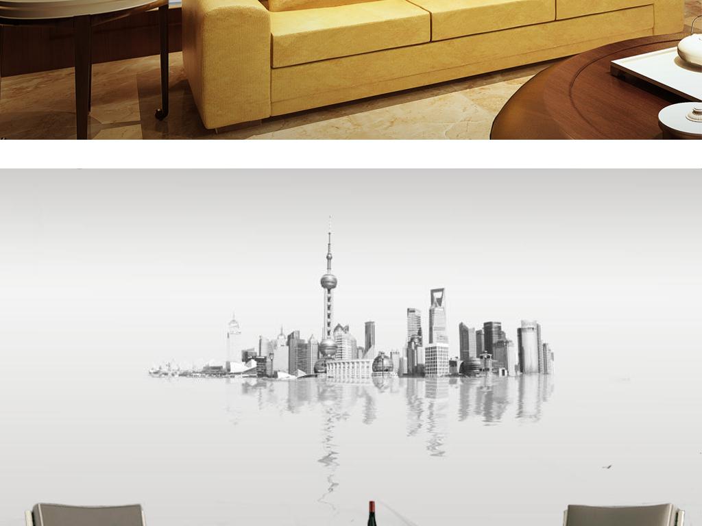 新中式水墨上海城市建筑电视背景墙