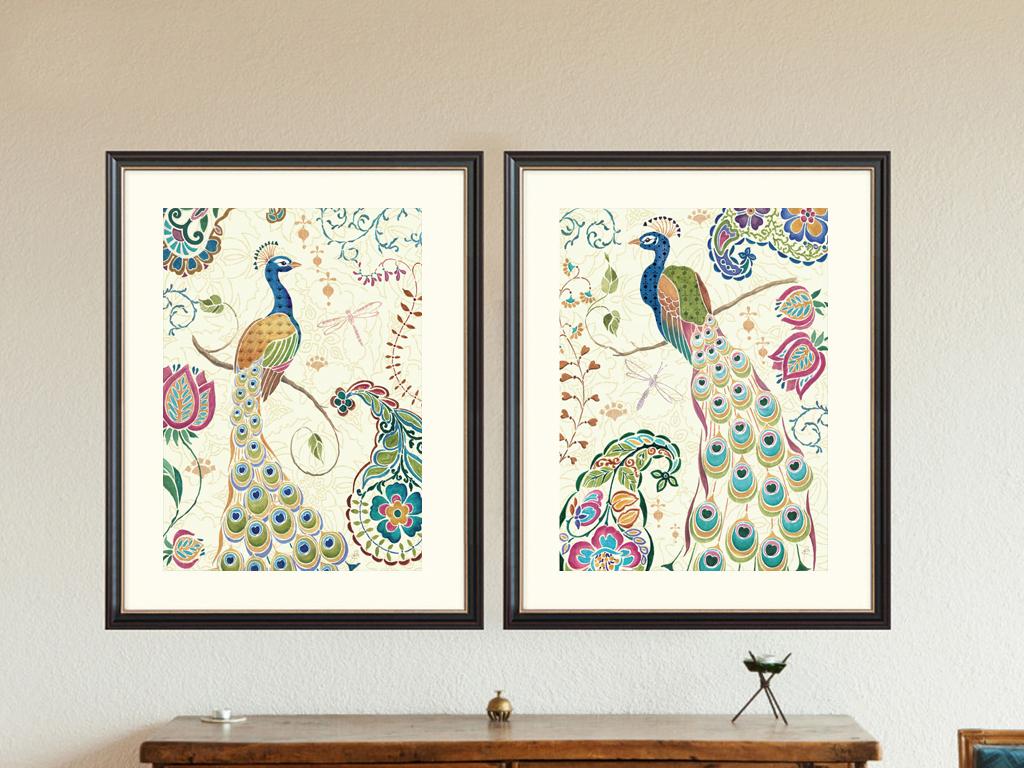 欧式彩色孔雀二联无框装饰画