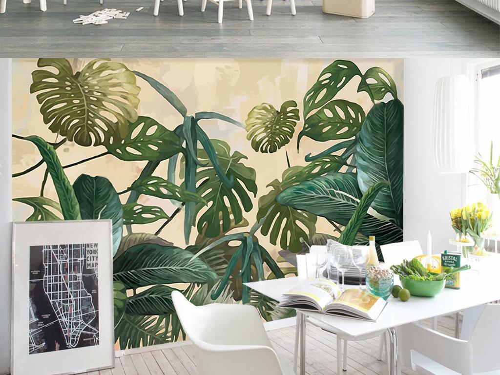 背景墙|装饰画 电视背景墙 手绘电视背景墙 > 复古热带雨林棕榈芭蕉叶