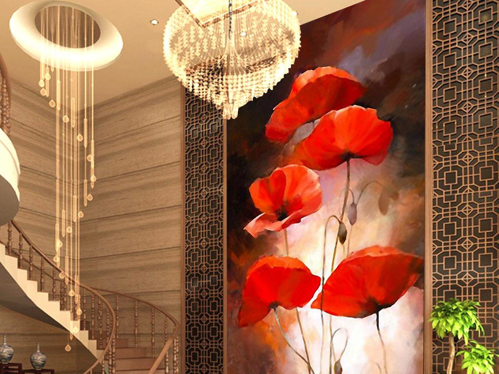梦幻手绘水彩画装饰画背景墙无框画屏风创意复古欧式