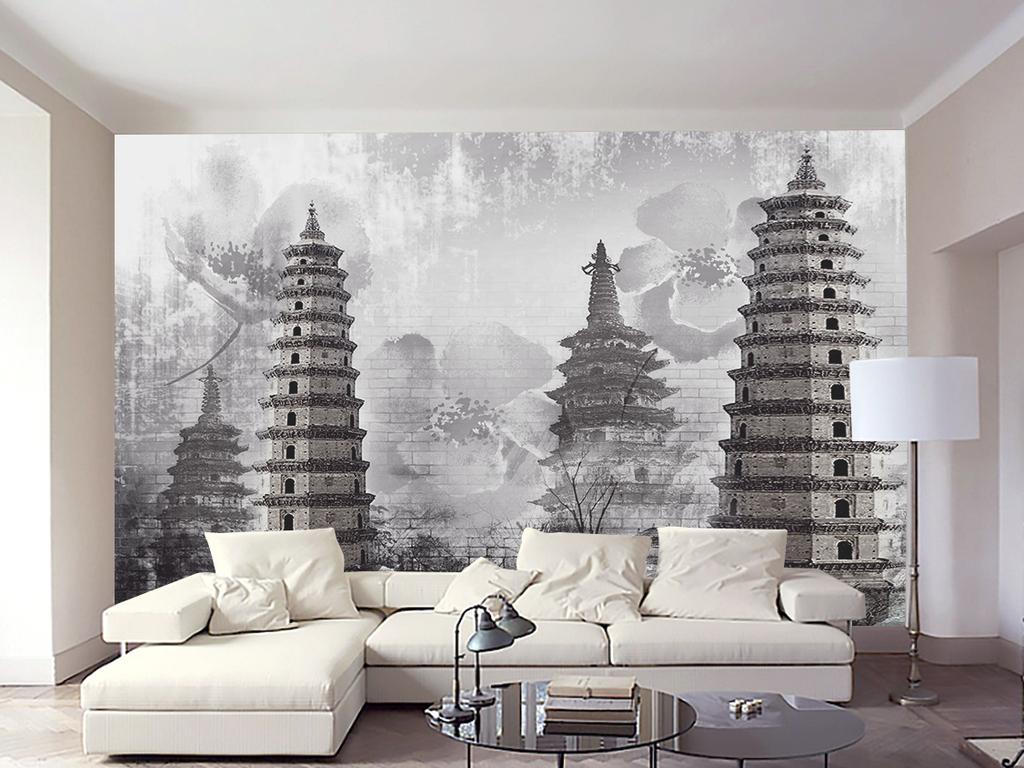 中式抽象艺术复古塔油画手绘背景墙装饰画