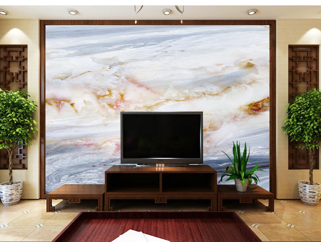 大理石玉石电视沙发背景墙海纳百川