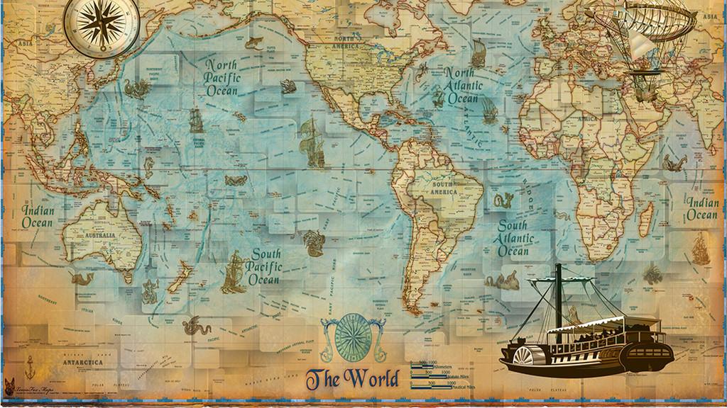 高清复古世界地图背景墙纸壁纸壁画