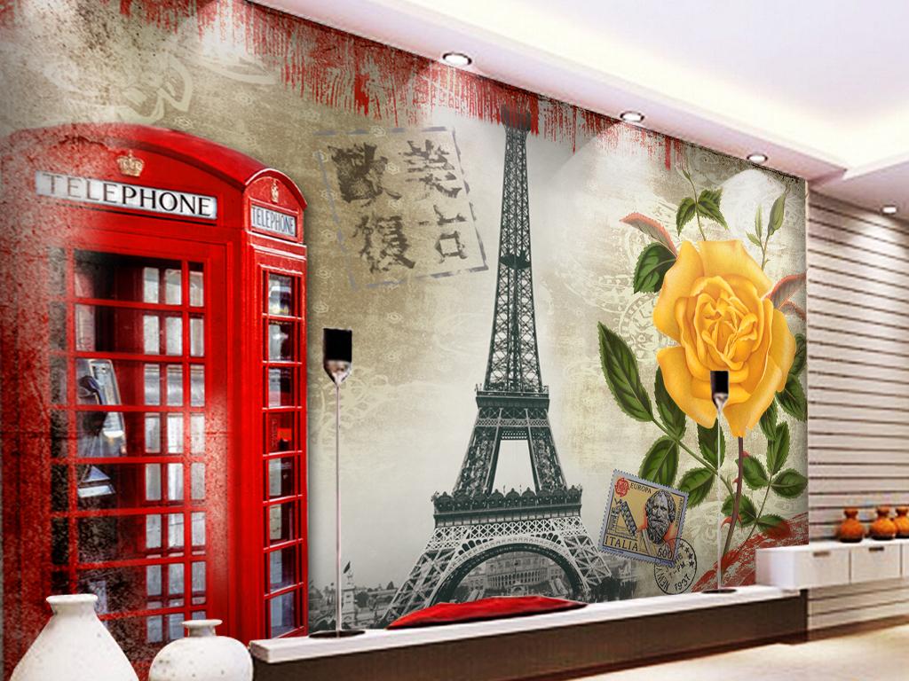 铁塔巴黎牡丹花背景工装背景复古底纹复古背景复古