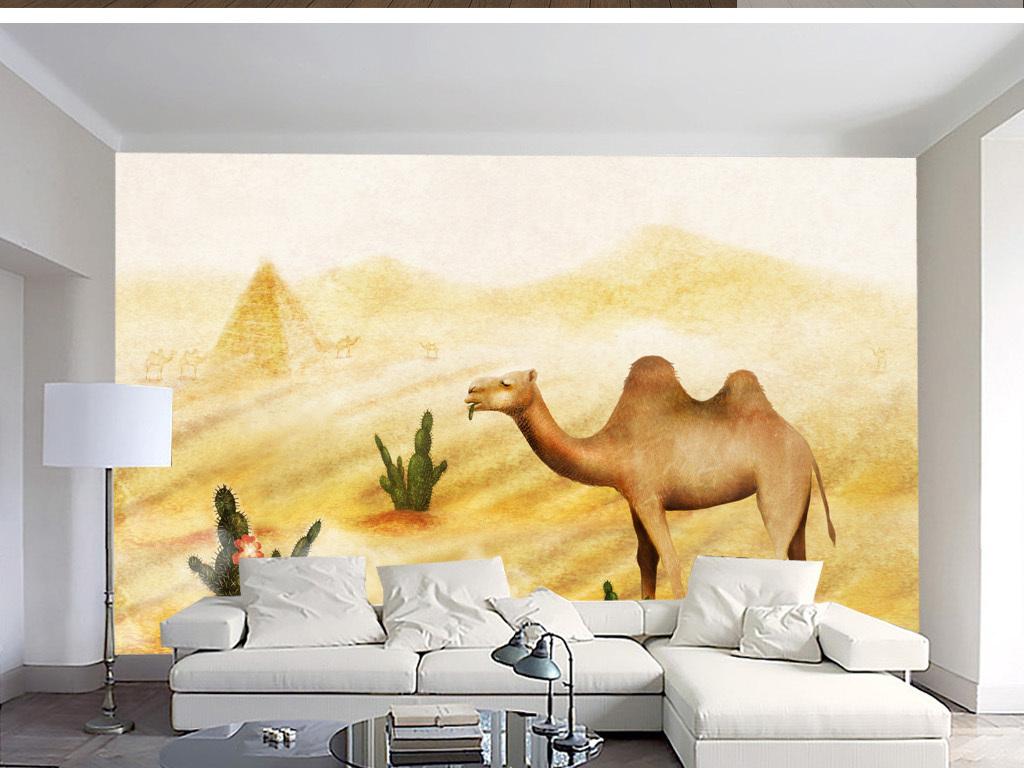 手绘北欧沙漠骆驼简约风背景墙装饰画